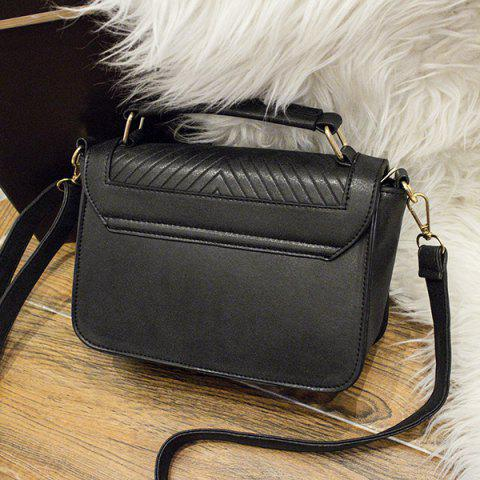 Chic Lattice Pattern Stitching Flap Crossbody Bag - BLACK  Mobile