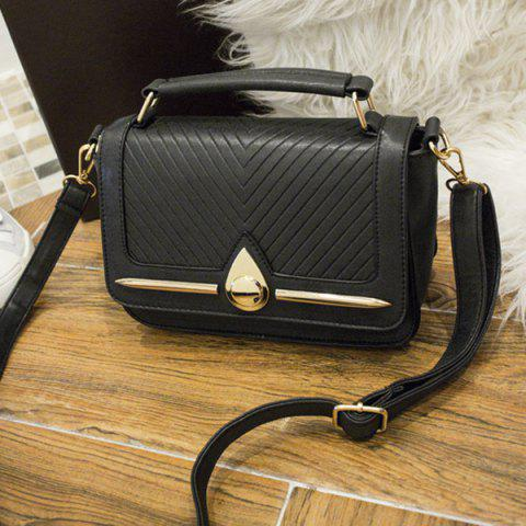 Outfit Lattice Pattern Stitching Flap Crossbody Bag - BLACK  Mobile