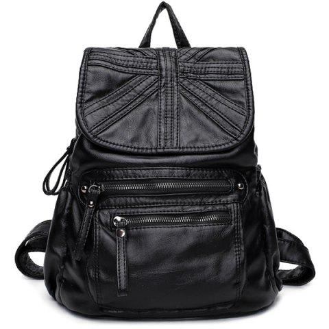 Zip Cousu souple Flap Backpack Noir