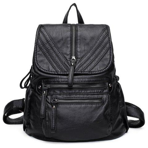 Lightweight Washable Leather Backpack - Black