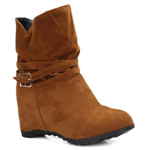 Trendy Pull On Wedge Wedge Boots BROWN 39