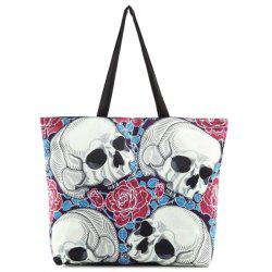 Flower Skull Print Canvas Shoulder Bag