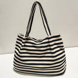 Zipper Stripe Canvas Bag