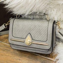 Lattice Pattern Stitching Flap Crossbody Bag - GRAY
