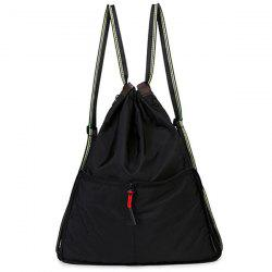 Lightweight Nylon Drawstring Backpack - Noir