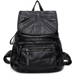 Zip Stitched Soft Flap Backpack - BLACK