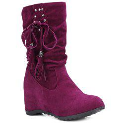 Studded Increased Internal Slip On Tassels Suede Mid Calf Boots -