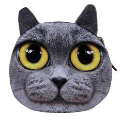 Zipper Kitten Face Coin Purse - GRAY