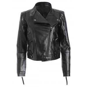 Spliced Zippered PU Biker Short Jacket - Black - Xl