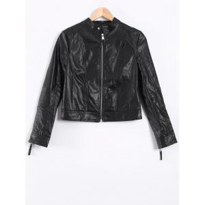 Topstitching Faux Leather Short Biker Jacket - Black - Xs