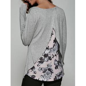 Back Surplice Floral Print Casual T-Shirt