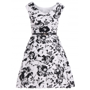Vintage Floral Belted Dress