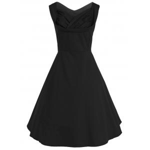 Vintage Bandage Fit and Flare Dress - Black - S