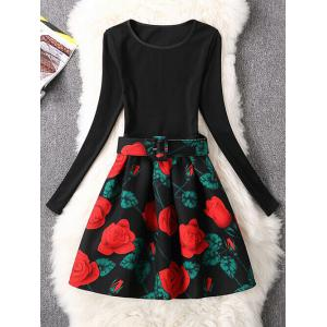 Retro Rose Flower Fit and Flare Dress - Black - M