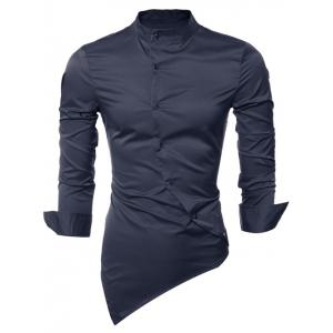 Long Sleeve Stand Collar Asymmetrical Shirt