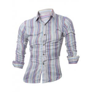 Long Sleeve Colorful Striped Shirt