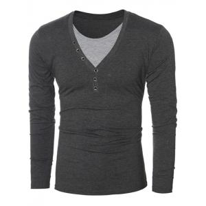 Button Embellished Round Neck Long Sleeves T-Shirt - Gray - M