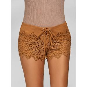 Suede Lace-Up Openwork Scalloped Shorts