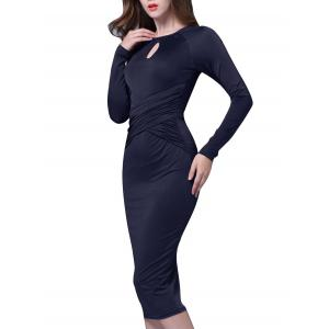 Ruched Keyhole Bodycon Midi Dress with Long Sleeve