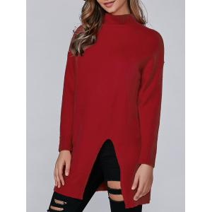 Loose Slit Long Knitwear - Red - One Size
