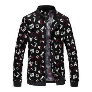 Stand Collar Letter Print Jacket - Black - M