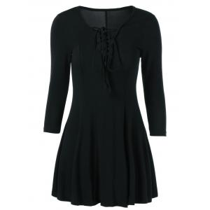 Lace Up 3/4 Sleeve Fit and Flare Dress