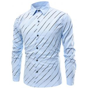 Long Sleeve Diagonal Striped Shirt