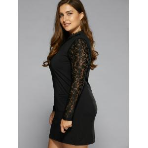 Long Sleeve Lace Splicing Dress - Black - 5xl