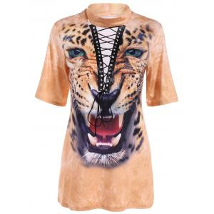 Lace-Up Animal 3D Print Long T Shirt