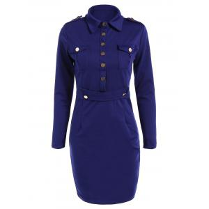 Pocket Buttoned Sheath Military Dress