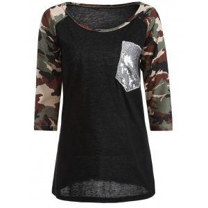 Camo Embellished Raglan Sleeve T-Shirt - Black - S