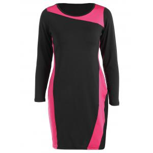 Sheath Plus Size Color Block Work Dress