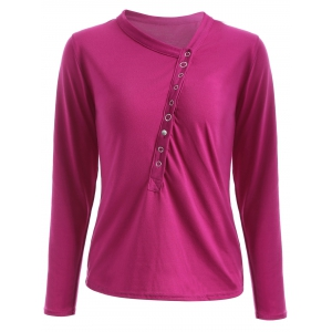Button Design Draped Slimming T-Shirt