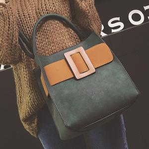 Colour Spliced PU Leather Buckle Tote Bag