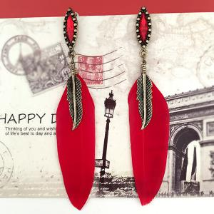 Feather Leaf Fake Gem Earrings - Red