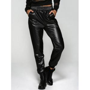 Elastic Waist Ruffled Faux Leather Jogger Pants