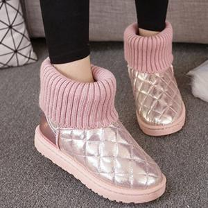 Splicing Knitting Argyle Pattern Snow Boots - Pink - 40
