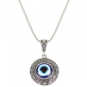 Eye Fret Round Pendant Necklace - Blue
