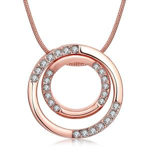 Rhinestone Polished Double Ring Pendant Necklace