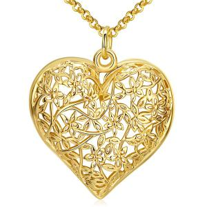 Openwork Heart Floral Pendant Necklace - Golden - One-size