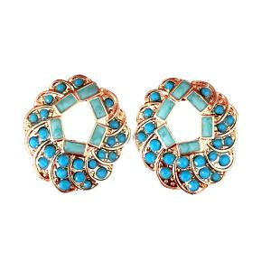 Hollowed Round Rhinestone Fake Gem Earrings - Azure