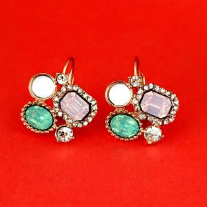 Geometry Fake Gem Rhinestone Earrings