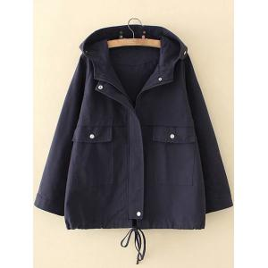 Plus Size Hooded Pocket Design Trench Coat
