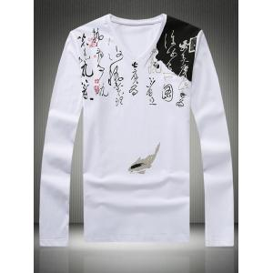 Plus Size Chinoiserie Calligraphy Print V-Neck Long Sleeve T-Shirt