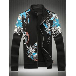 Plus Size Hooded Birds and Florals Print Zip-Up Hoodie