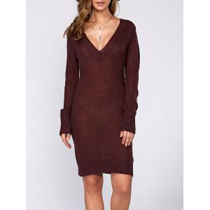 Long Sleeve Textured Fuzzy Knit Dress - Wine Red - M