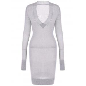 Long Sleeve Textured Fuzzy Knit Dress - Light Gray - M
