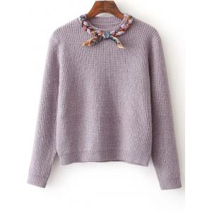 Bowknot Design Pullover Knit Sweater