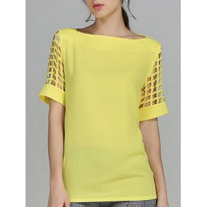 Openwork Candy Color T Shirt - Yellow - 4xl