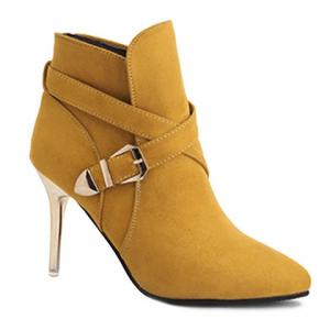 Stiletto Heel Point Toe Buckle Cross Strap Suede Ankle Boots